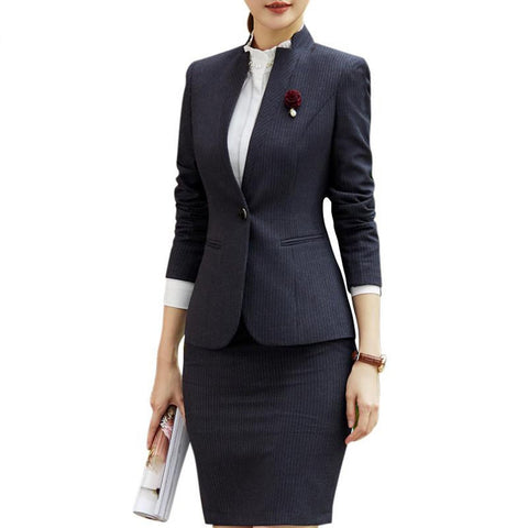 Women's Skirt and Blazer Suit Stripe Slim Long Sleeve Plus Size Formal for Office Work Business