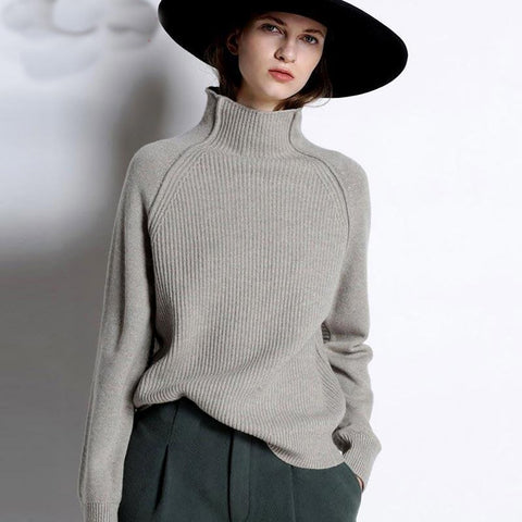 Women's Sweater Cashmere High-collar Thickened Loose Large Size Knitted Wool for Autumn Winter