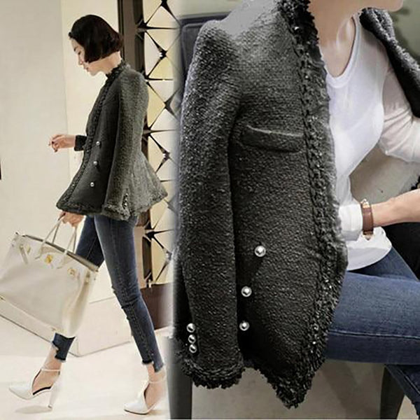 Women's Jacket Pearls Tassels Woolen Vintage Warm Tweed Elegant for Winter