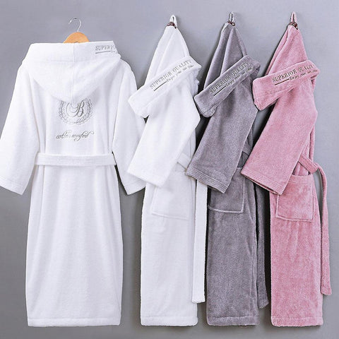 Men's Bathrobe 100% Cotton Hooded Warm Sleepwear Long for Winter Spring