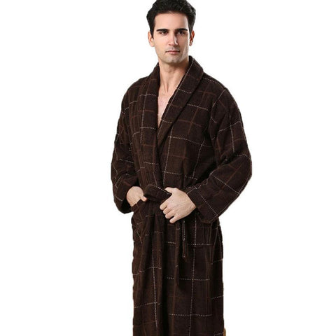 Men's Robe Geometric Full Sleeve Terry Cotton Sleep