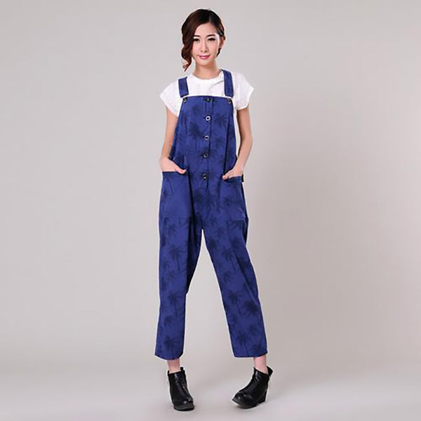 Women's Overall Coconut Tree Print Denim Casual Cotton