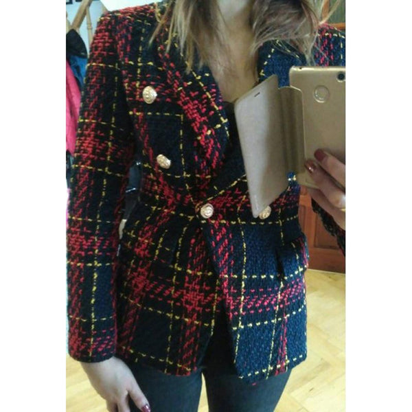 Women's Blazer Lion Metal Buttons Plaid Tweed Wool