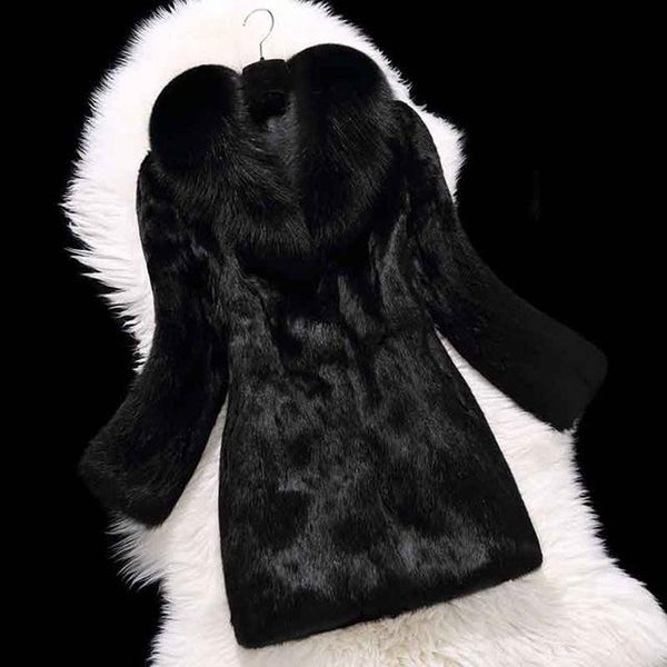 Women's Overcoat Full Pelt Rabbit Fur with Real Natural Fox Collar Customize Plus Size
