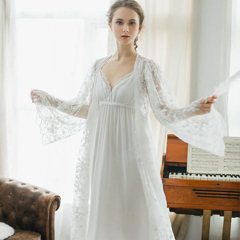 Women's Robe Vintage lace Elegant Sleepwear Bride