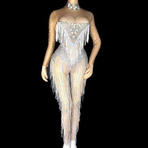 Women's Jumpsuit Tassels Crystals Stretch Costume for Singer Dancer Nightclup Party