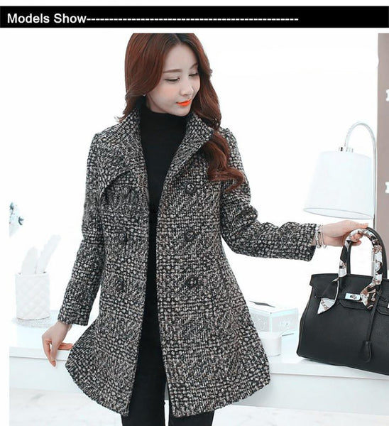 Women's Coat Wool Blends Elegant Turtleneck Plaid Slim Long Tweed Outwear for Winter Autumn