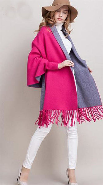 Women's Poncho Elegant Cashmere Tassel Batwing Sleeve Outwear for Autumn