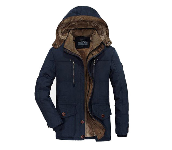 Men's Jacket Plus Size Fleece Warm Thick Outwear Windproof Casual Hooded for Winter