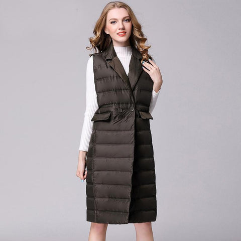 Women's Long Vest Ultra Light Down Sleeveless Turn-down Collar