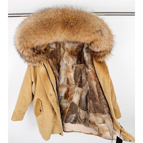 Women's Jacket Natural Rabbit Fur Lining Corduroy Real Raccoon Collar Warm Long for Winter
