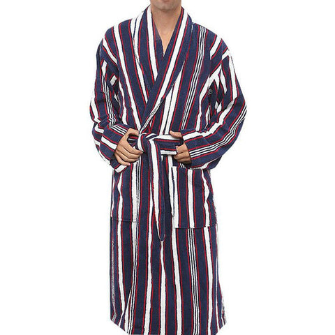 Men's Bathrobe 100% Cotton Toweled Sleepwear Long