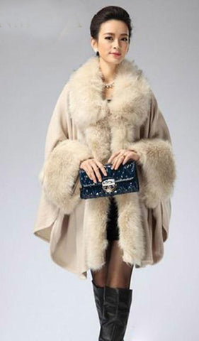 Women's Sweater Long Knitted Fake Fox Fur Cashmere for Autumn Winter