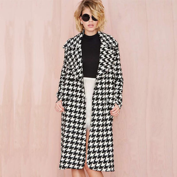 Women's Coat Wool Blend Plaid Thick Turn-down Striped Printed Long Loose Fashionable Outwear for Wpring Winter