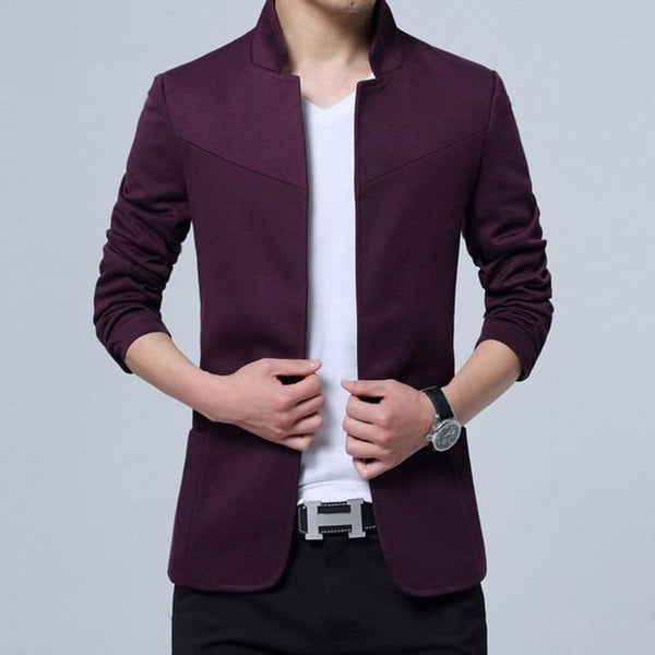 Men's Blazer England Style Cotton Mandarin Collar Slim Fit Casual
