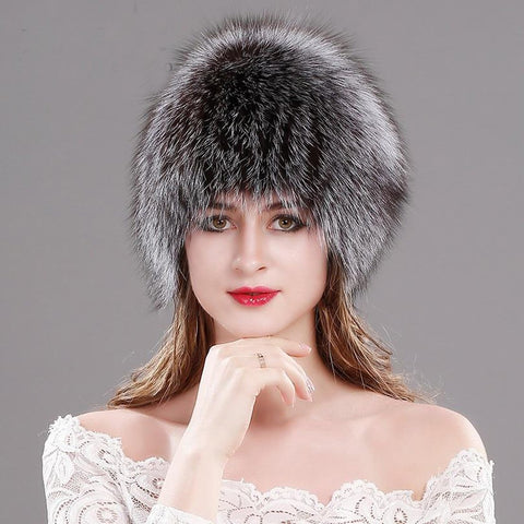 Women's Hat Natural Fox Fur Knitted Russian Thick Warm for Winter