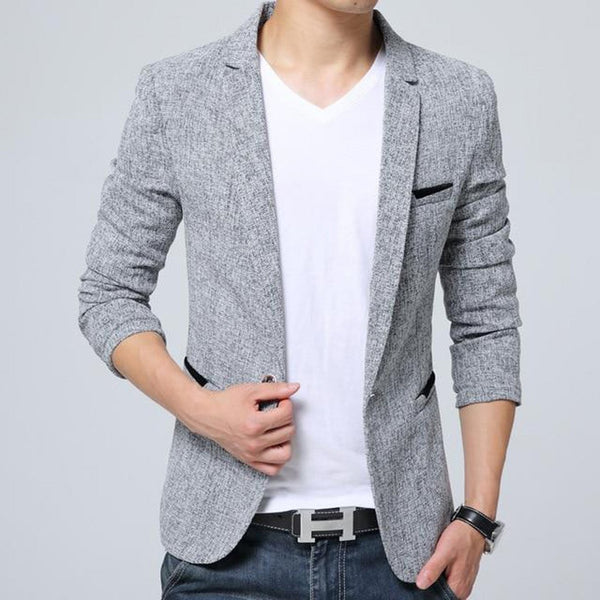 Men's Blazer Slim Fit Casual Linen Costume