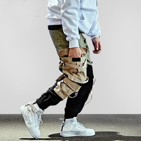 Men's Cargo Pants Hip Hop Streetwear Patchwork Multi Pocket Casual Tactical Swag Ribbon