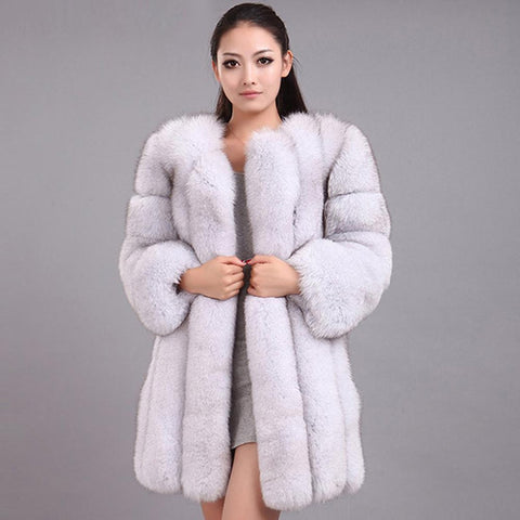 Women's Coat Fluffy Faux Fox Fur Thick Warm Outwear for Winter
