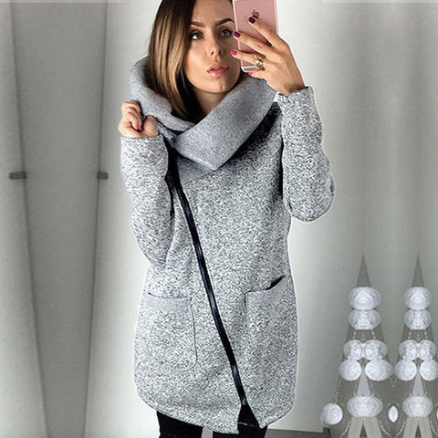 Women's Jacket Fleece Hooded Long Zipper Outwear Plus Size for Spring Winter