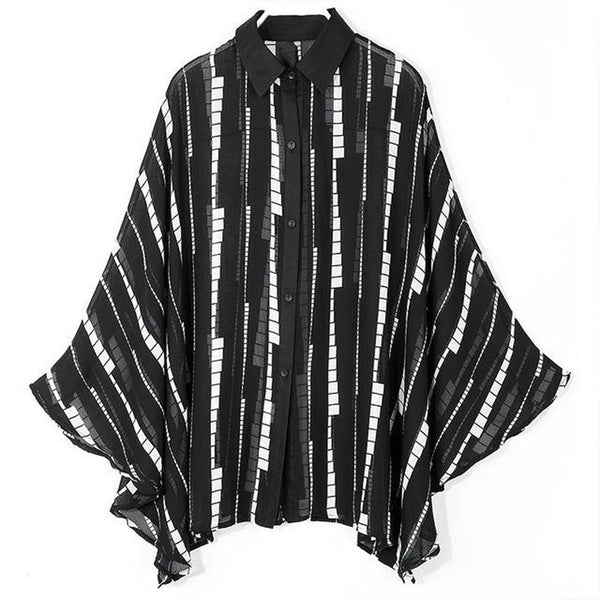 Women's Shirt Loose Big Size Lapel Batwing Sleeve Striped Chiffon for Summer