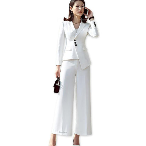 Women's Jacket and Pants Suit 2pcs/set Formal Pocket Uniform Style Loose for Work Office Business