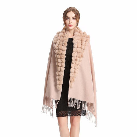 Women's Shawl Wool Rabbit Fur Pompom Warm Tassel for Autumn Winter