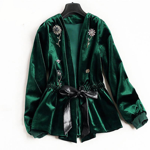 Women's Jacket Beading Long Sleeve Flower Velvet for Winter Spring