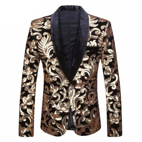 Men's Blazer Plus Size Velvet Flowers Sequins for DJ Club Stage Singer