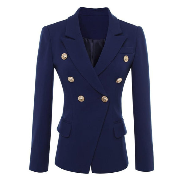 Women's Blazer Double Breasted Lion Buttons Outer Wear