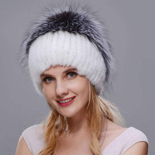 Women's Hat Natural Mink Elegant Warm Knit Real Fox Fur for Winter