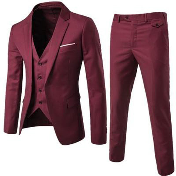 Men's Jacket Pants and Vest Suit 3pcs/set Casual Plus Size for Wedding Groom