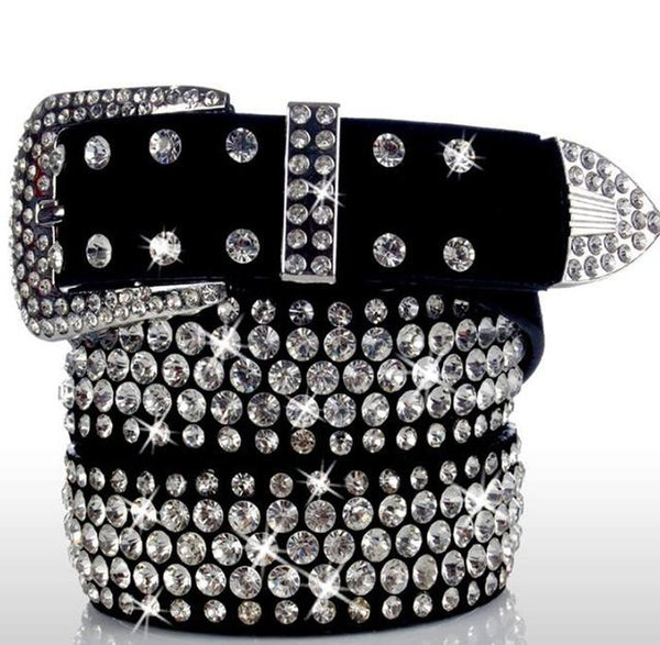 Women's Leather Belt Rhinestone Studded Crystal Cowskin Real Strap