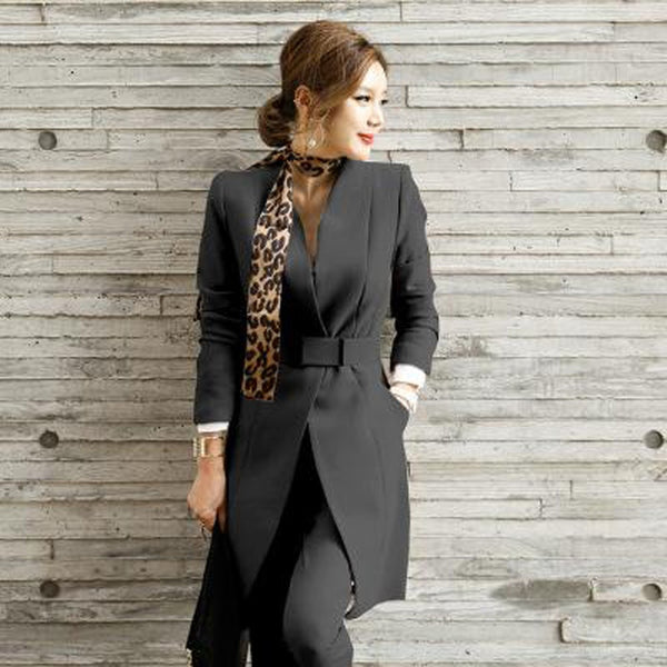 Women's Jacket and Pants Suit 2pcs/set Long Casual Formal Uniform Style Elegant for Office Work Business