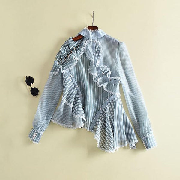 Women's Shirt Striped Ruffles Patchwork Hollow Out Stand Collar Irregular for Spring
