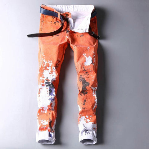 Men's Pants Slim Colorful Flower Printing Personalized Novelty Pencil Style Casual for Spring