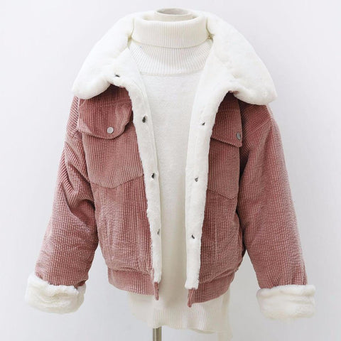 Women's Jacket Loose Corduroy Thick Lambswool Outwear Warm for Winter