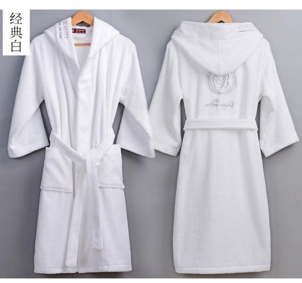 Women's Bathrobe Cotton Hooded Thick Warm Long for Winter Wedding Bridesmaid