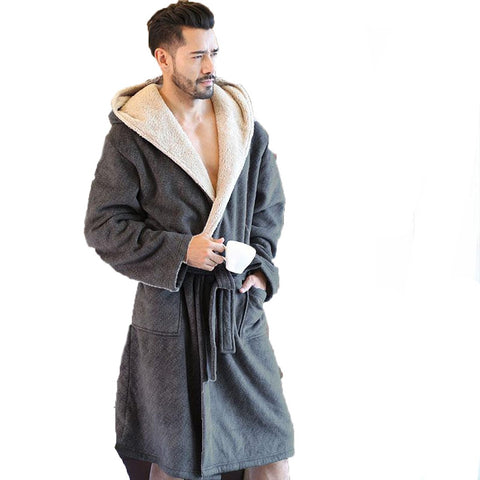 Men's Bathrobe Velvet Hooded Warm Long Comfort for Winter