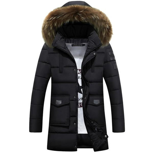 Men's Jacket Cotton Thick Long Warm Fur Collar for Winter Business