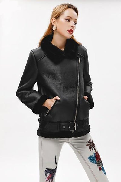 Women's Coat Artificial Fur Zipper Warm Couples Sashes Leather for Winter