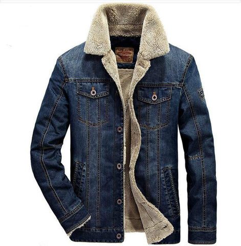 Men's Jacket Rodeo Lined Denim Jean Thicken Warm Outwear for Winter