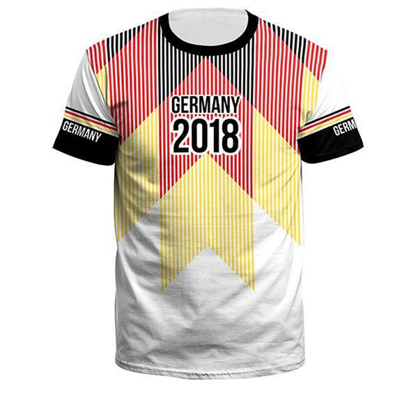 Men's T-shirt Germany Team Striped Printed Casual Style Short Sleeve Cropped for Summer