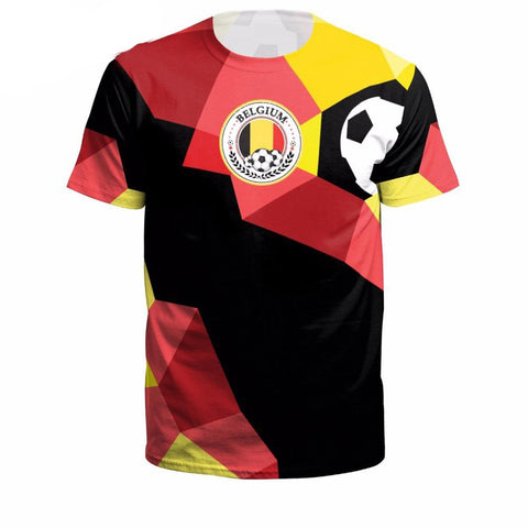 Men's T-shirt Belgium National Team Flag Printing Casual O-neck Short Sleeve Streetwear for Summer