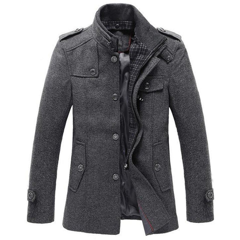 Men's Jacket Wool Slim Fit Thickening Short Trench for Autumn Winter