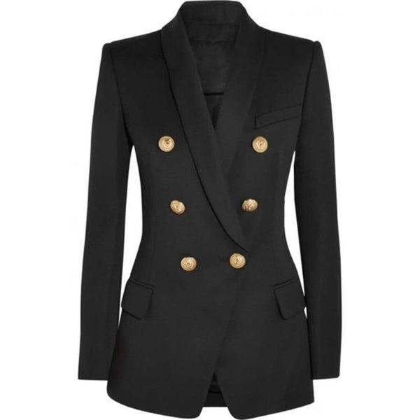 Women's Blazer Long Sleeve Double Breasted Metal Lion Buttons Outer