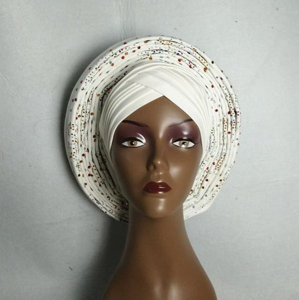 Women's African Headtie Already Tied Lace Fabric Ready To Wear