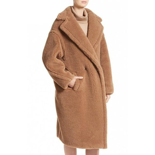 Women's Coat Warm Long Faux Labswool Sleeve Lapel Collar Loose Thick for Winter