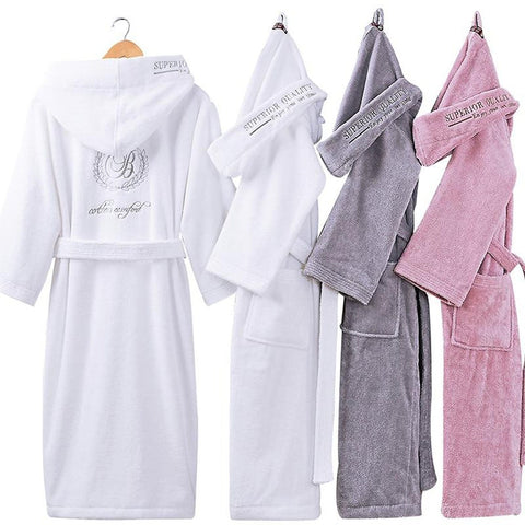 Women's Bathrobe Hooded Warm Sleepwear 100% Cotton Soft