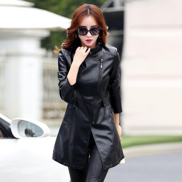 Women's PU Leather Jacket Plus Size Slim Long Trench for Autumn Winter